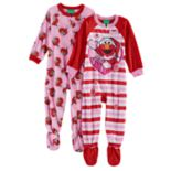 Toddler Girl Elmo 2 pkFleece Footed Pajamas