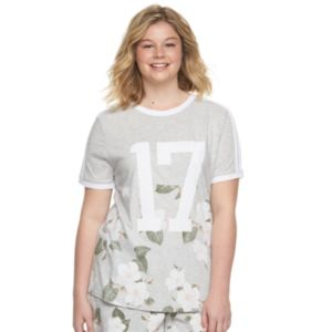 Juniors' Plus Size SO® Ringer Graphic Tee!