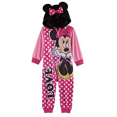 Disney's Minnie Mouse Toddler Girl Hooded Footless Pajamas