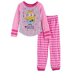 Girls 4-10 Despicable Me Minions '#Selfie' Top & Fleece Bottoms Pajama Set