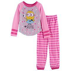 Girls 4-10 Despicable Me Minions '#Selfie' Top & Fleece Bottoms Pajama Set
