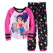 Girls 4-10 DC Comics Wonder Woman Lasso Tee & Bottoms Pajama Set