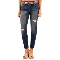 Juniors' Wallflower Distressed Skinny Jeans
