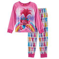 DreamWorks Trolls Poppy Girls 4-12 Plush Top & Bottoms Pajama Set