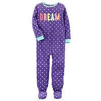 Girls 4-14 Carter's Applique Slogan Polka-Dot Microfleece Footed Pajamas