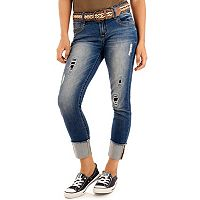 Juniors' Wallflower Curvy Ripped Ankle Jeans