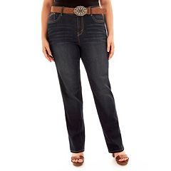 Juniors' Wallflower Belted Curvy Bootcut Jeans
