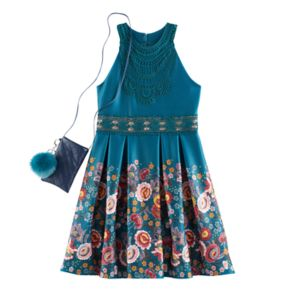 Girls 7-16 Knitworks Floral Border Highneck Skater Dress with Cell Phone Purse & Pom Keychain