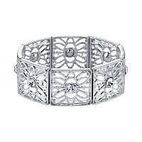 1928 Round Stone Filigree Stretch Bracelet