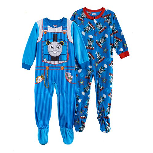 714aca303 Toddler Boy Thomas the Tank Engine Fleece One-Piece Footed Pajama Set