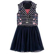 Girls 7-16 Knitworks Embroidered Flower Striped Moto Vest & Skater Dress Set with Necklace