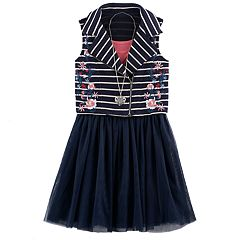 Girls 7-16 Knitworks Embroidered Flower Striped Moto Vest & Skater Dress Set with Necklace