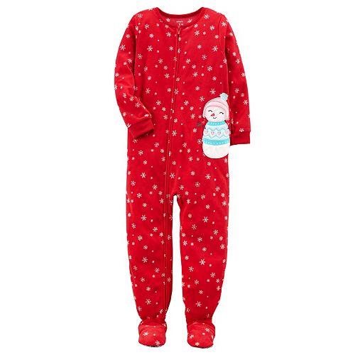 Girls 4-14 Carter's Christmas One-Piece Microfleece Pajamas