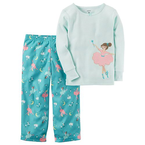 Girls 4-14 Carter's Applique Striped Top & Pattern Bottoms Pajama Set