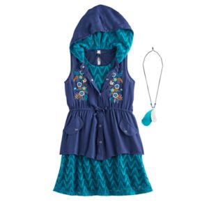 Girls 7-16 Knitworks Hooded Vest & Chevron Lace Shift Dress Set with Necklace