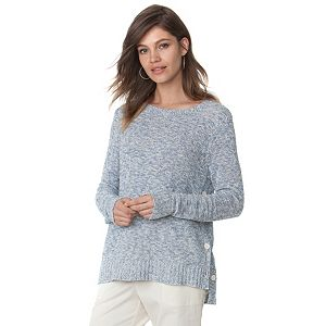 Women's Chaps Marled Embellished Crewneck Sweater