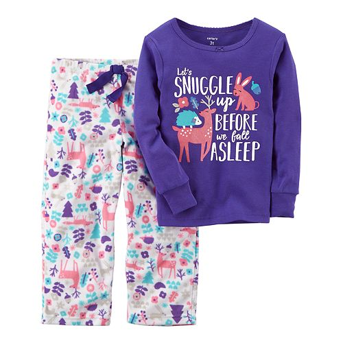 Girls 4-14 Carter s Graphic Top   Print Fleece Pants Pajama Set f7f175655