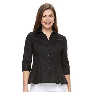 Petite Dana Buchman Pleated Peplum Shirt