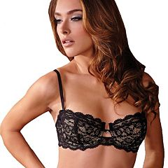 Montelle Intimates Bra: Keyhole Lace Balconette Bra 9201
