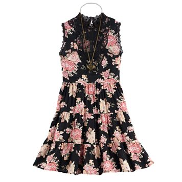 Girls 7-16 Knitworks Lace High Neck Tiered Floral Dress with Necklace