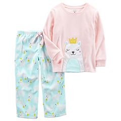 Girls 4-14 Carter's Friendly Animal Applique Top & Patterned Bottoms Pajama Set
