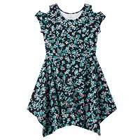 Girls Plus Size SO® Cold Shoulder Embellished Patterned Handkerchief Hem Dress
