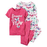 Girls 4-14 Carter's 4 pc Short Sleeve, Long Sleeve & Bottoms Pajama Set