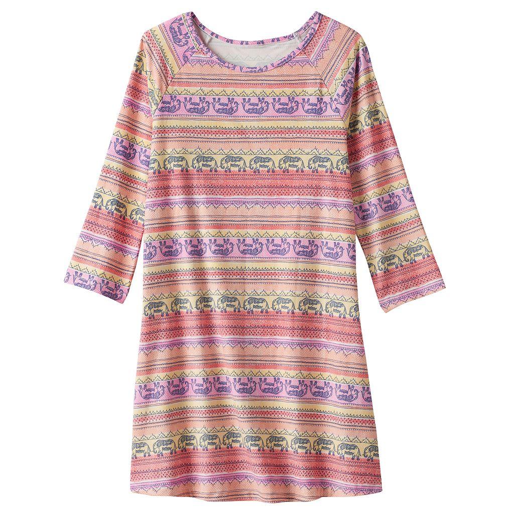 Girls Plus Size Mudd® 3/4-Length Sleeve Patterned Swing Dress