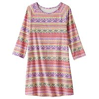 Girls Plus Size Mudd® 3/4-Length Sleeve Patterned Swing Dress
