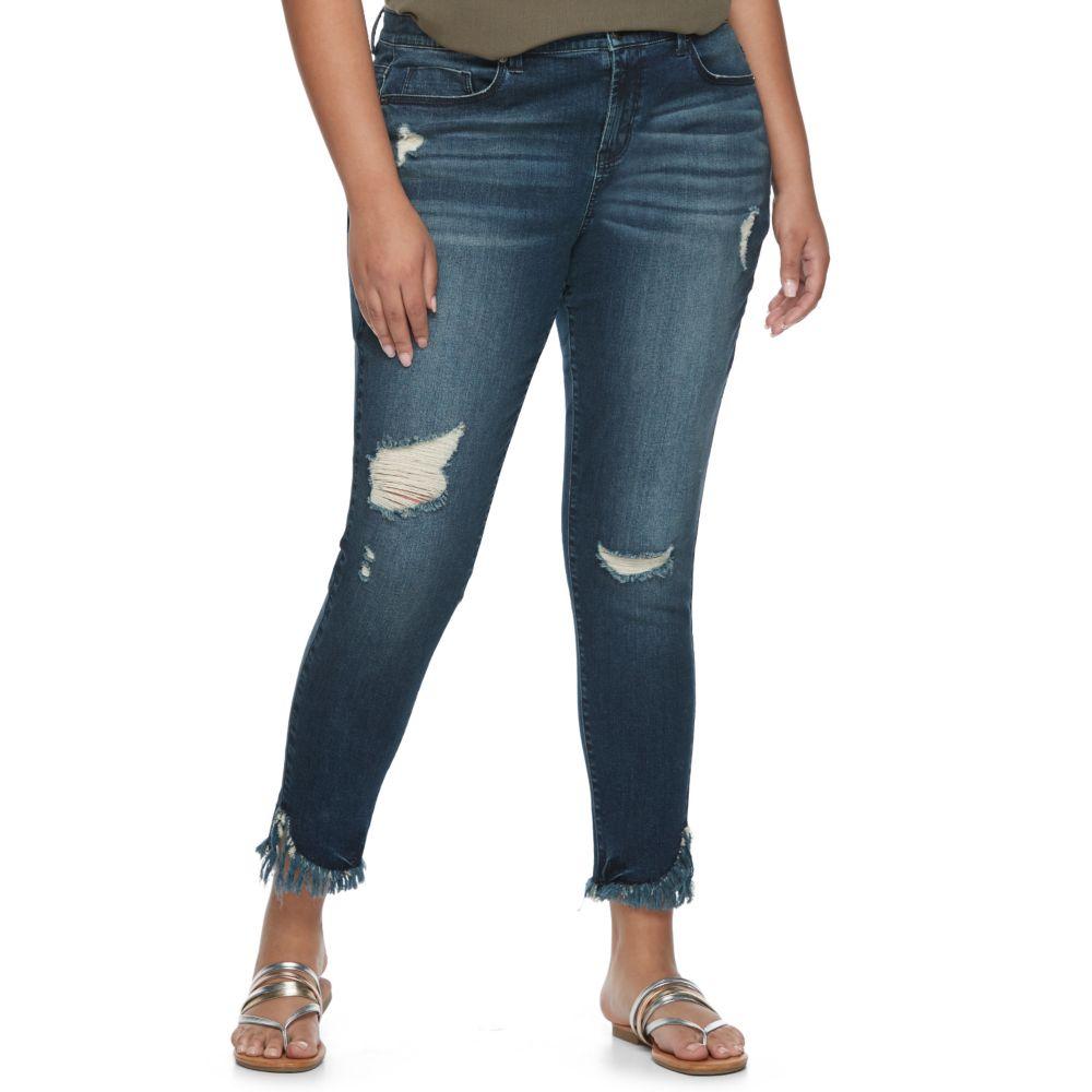 Plus Size Mudd® Fray Hem Ripped Skinny Jeans