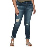 Juniors' Plus Size Mudd® Fray Hem Ripped Skinny Jeans