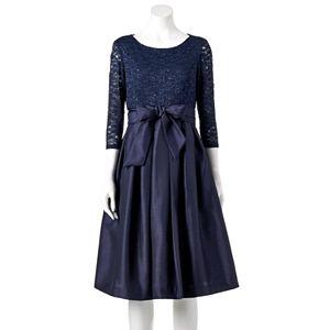 Women's Jessica Howard Lace Taffeta Fit & Flare Dress