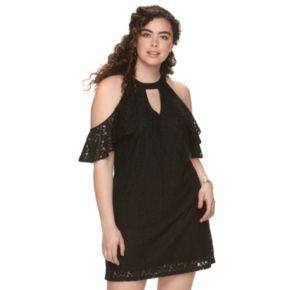 Juniors' Plus Candie's Flutter Halter Dress