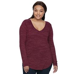 Juniors' Plus Size SO® V-Neck Long Sleeve Tee