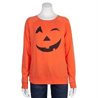 Juniors' Grayson Threads Jack-O'-Lantern Wink Graphic Top