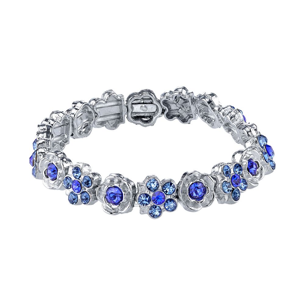 1928 Simulated Crystal Floral Stretch Bracelet