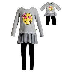 Girls 4-14 Dollie & Me Smiley Face Dress & Leggings Set
