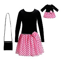 Girls 4-14 Dollie & Me Velour Dress & Matching Purse Set