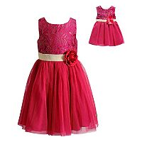 Girls 4-14 Dollie & Me Lace & Mesh Dress Set