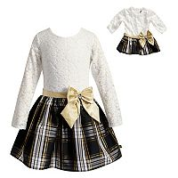 Girls 4-14 Dollie & Me Lace & Plaid Dress Set