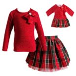 Girls 4-14 Dollie & Me Taffeta Top & Plaid Skirt Set