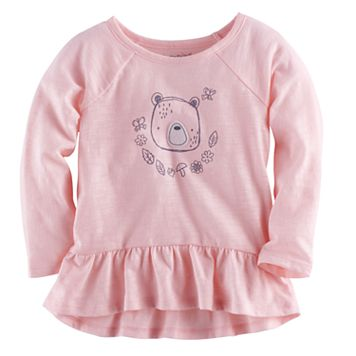 Baby Girl Jumping Beans® Bear Graphic Peplum Tunic