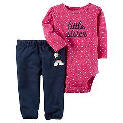 Baby Girl Carter's 'Little Sister' Bodysuit & French Terry Pants Set