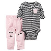 Baby Girl Carter's Striped Henley Bodysuit & Graphic Pants Set