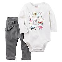 Baby Girl Carter's Graphic Bodysuit & Ruffled Pants Set