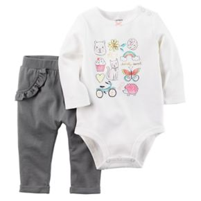 Baby Girl Carter's Graphic Bodysuit & Ruffled Pants Set