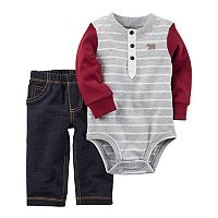 Baby Boy Carter's Striped Henley Bodysuit & Jeggings Set