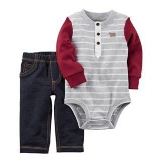 Baby Boy Carter's Striped Henley Bodysuit & Jeggings Set