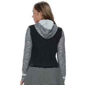 Juniors' Mudd® Knit Sleeve Denim Jacket