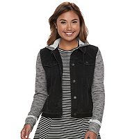 Juniors' Mudd® Knit Sleeve Denim Jacket